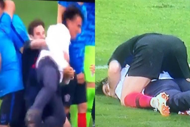 Скриншот трансляции полуфинала ЧМ-2018 Хорватия - Англия (2:1).