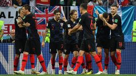 Среда. Москва. Лужники. Хорватия - Англия - 2:1 д.в. Игроки сборной Хорватии празднуют выход в финал чемпионата мира-2018.