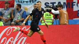 Среда. Москва. Хорватия - Англия - 2:1. Иван ПЕРИШИЧ празднует забитый мяч.