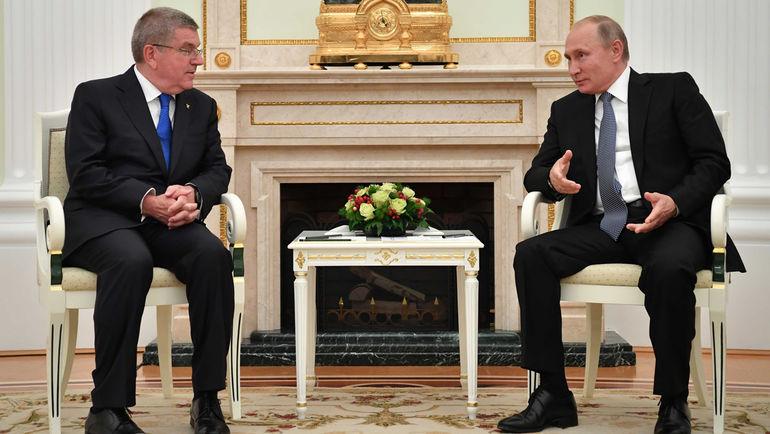 Владимир ПУТИН на встрече с Томасом БАХОМ. Фото REUTERS