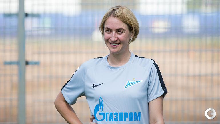 """Сегодня. Санкт-Петербург. Тренировка """"Зенита"""". Тренер по физподготовке Мария БУРОВА."""