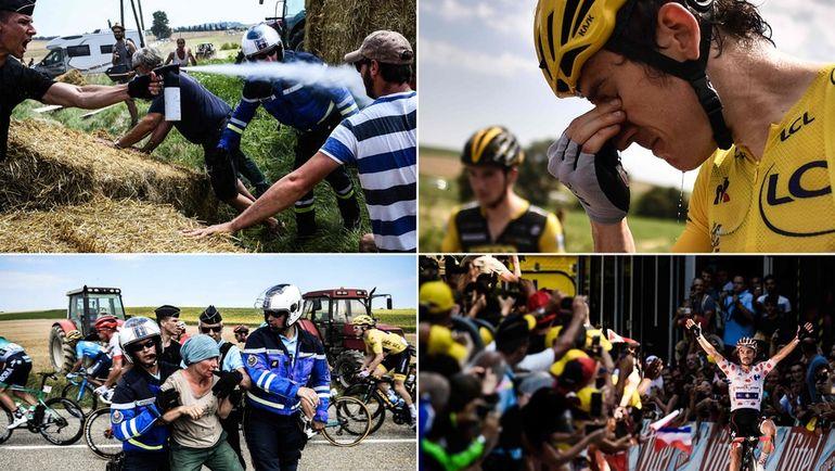"""24 июля на 16-м этапе """"Тур де Франс"""" фермеры перекрыли трассу стогами сена, полиция применила слезоточивый газ, а пострадали в том числе и лидеры гонки. Фото AFP"""
