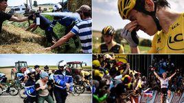 """24 июля на 16-м этапе """"Тур де Франс"""" фермеры перекрыли трассу стогами сена, полиция применила слезоточивый газ, а пострадали в том числе и лидеры гонки."""