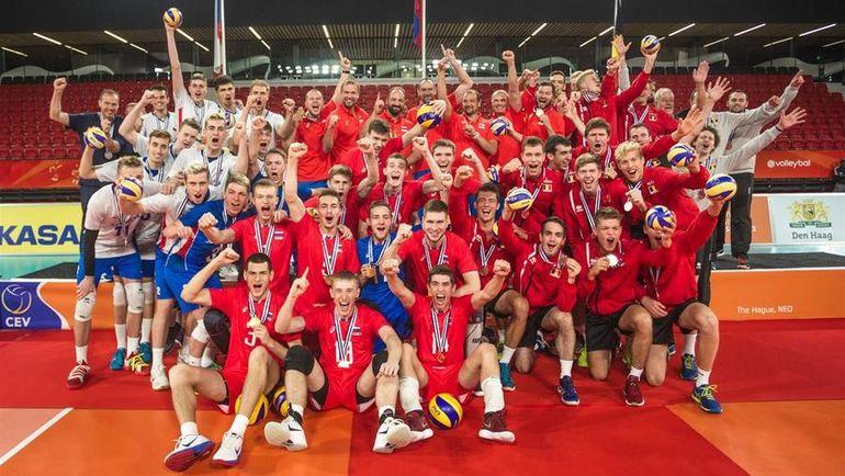 Сборная России - чемпион Европы среди игроков до 20 лет. Фото cev.eu