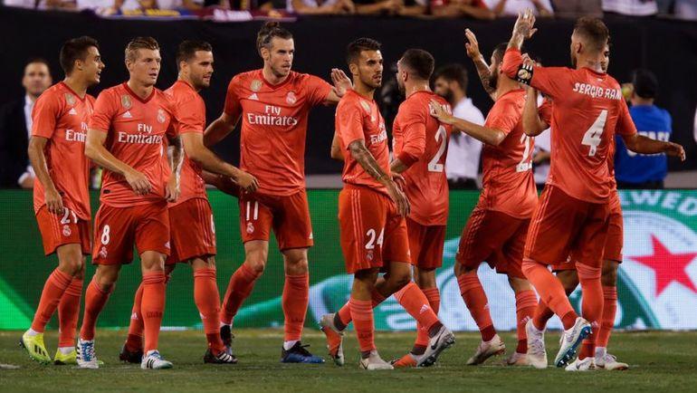 """8 августа. Нью-Джерси. """"Реал"""" – """"Рома"""" – 2:1. Футболисты """"Рнала"""" празднуют гол."""