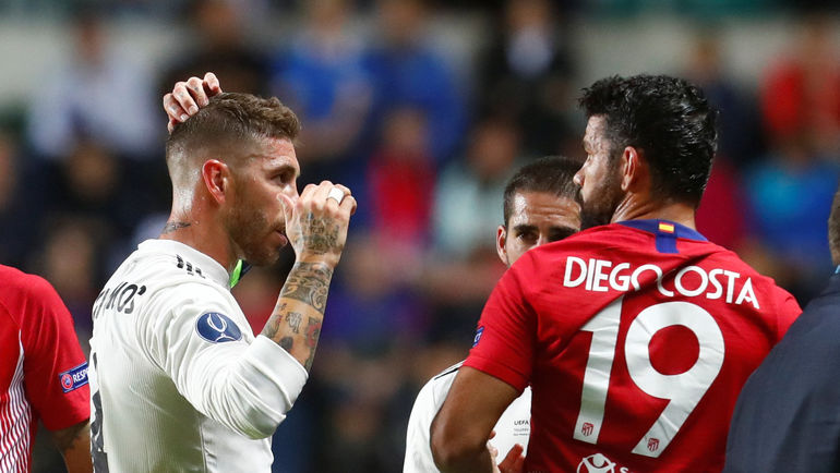 "Среда. Таллин. ""Реал"" - ""Атлетико"". Серхио РАМОС (слева) и Диегу КОСТА. Фото Reuters"