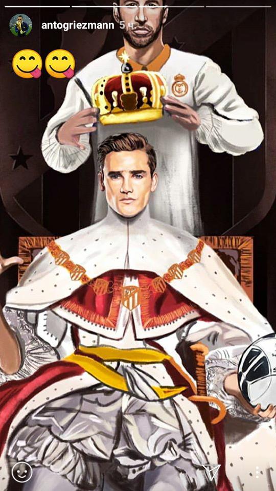 "Серхио РАМОС ""коронует"" Антуана ГРИЗМАННА. Фото Инстаграм Гризманна"