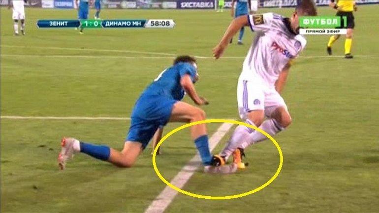58-я минута: Галович прямой ногой ударил Кузяева.