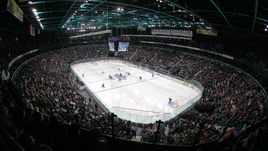"""4 октября 2010 года. Санкт-Петербург. СКА - """"Каролина"""" - 5:3. Трибуны """"Ледового"""" во время выставочного матча с клубом НХЛ."""