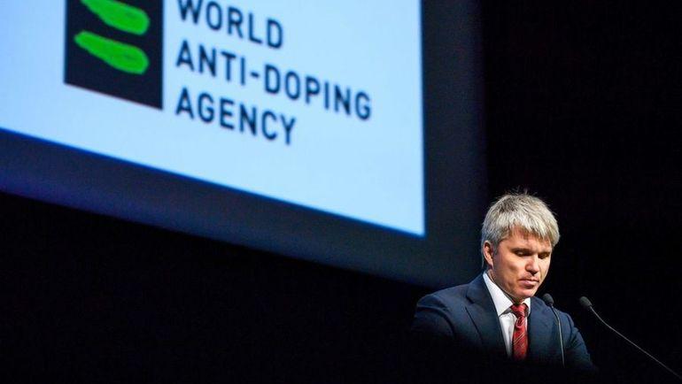 Выступление министра спорта РФ Павоа КОЛОБКОВА перед членами ВАДА в марте 2017 года. Фото AFP