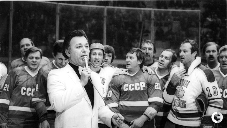 Начало 80-х годов. Москва. Иосиф КОБЗОН на матче звезд хоккея СССР и Канады.
