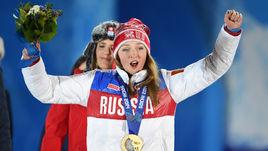 Февраль 2014 года. Сочи. Алена ЗАВАРЗИНА с бронзовой медалью Сочи-2014.
