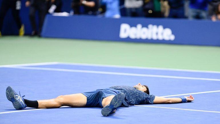 Новак Джокович после победы. Фото US Open.