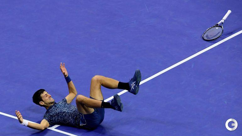 9 сентября. Нью-Йорк. US Open. Финал. Новак Джокович через секунду после победы.