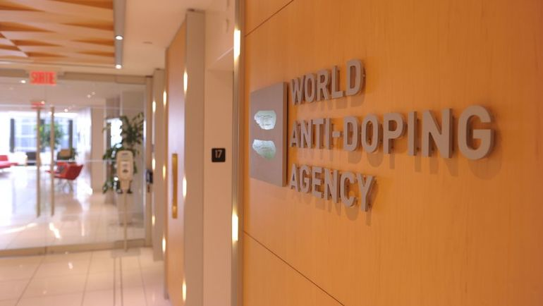Логотип Всемирного антидопингового агентства (ВАДА). Фото AFP