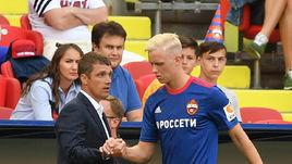 Главный тренер ЦСКА Виктор Гончаренко и защитник Хердур Магнуссон.