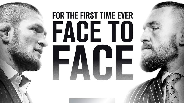 Хабиб Нурмагомедов - Конор Макгрегор: первая встреча соперников лицом к лицу. Фото twitter.com/ufc