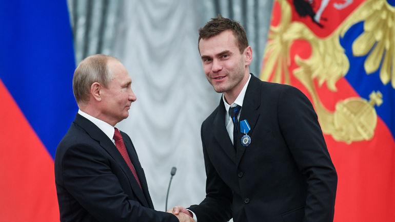 Владимир Путин и Игорь Акинфеев. Фото Дарья Исаева, «СЭ»