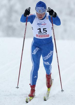 Российская лыжница Евгения ШАПОВАЛОВА Фото AFP
