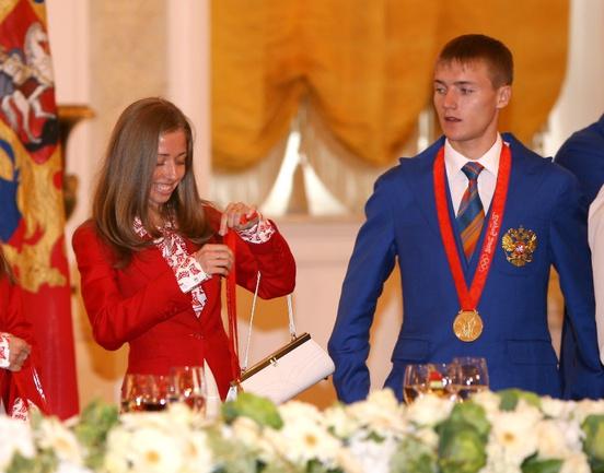 Ольга КАНИСЬКИНА и Валерий БОРЧИН в Кремле. Фото Татьяна ДОРОГУТИНА, «СЭ»