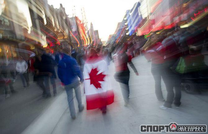Болельщики канадской сборной.