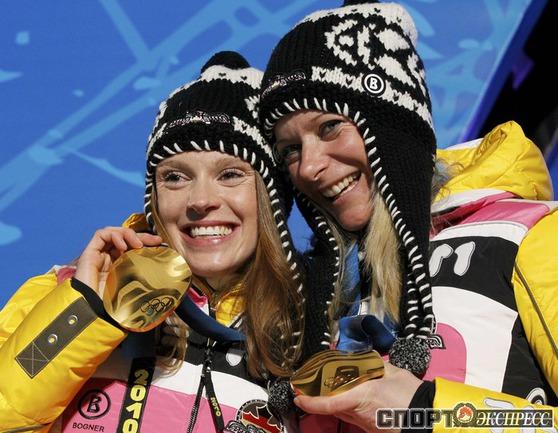 Эви ЗАХЕНБАХЕР-ШТЕЛЕ/ Клаудиа НИСТАД (Германия). Лыжи. Командный спринт. Фото Reuters