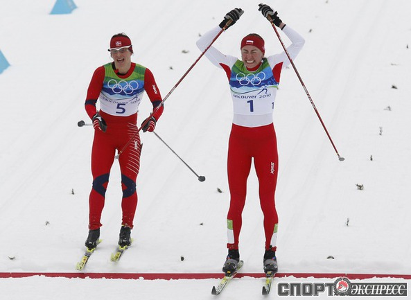 Женская гонка на 30 км. В борьбе за золото на финишной прямой Юстина КОВАЛЬЧИК из Польши опередила норвежку Марит БЬОРГЕН.
