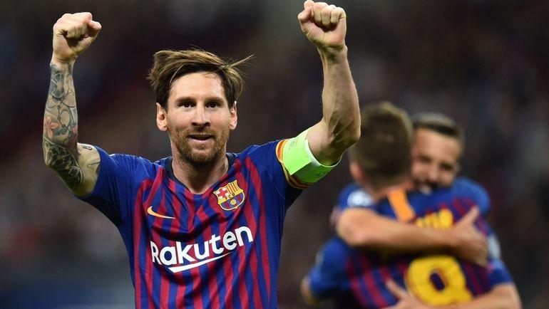"""3 октября. Лондон. """"Тоттенхэм"""" - """"Барселона"""" - 4:2. Лионель Месси празднует очередной гол."""