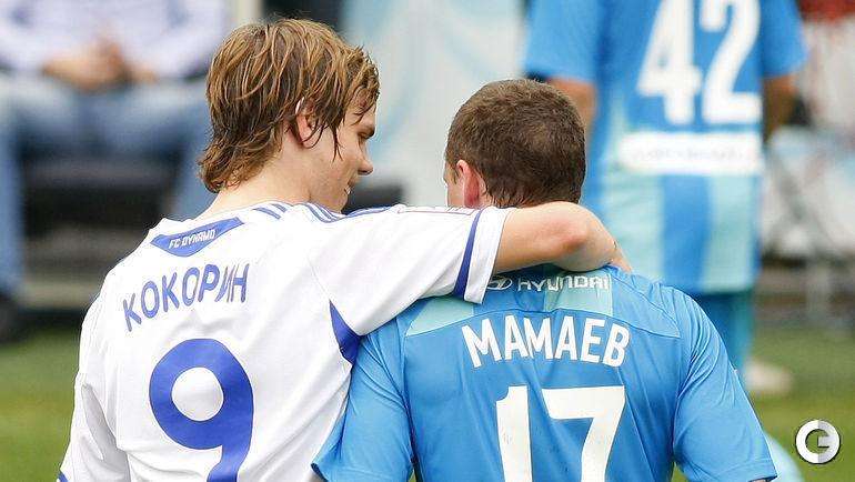 """8 мая 2011 года. """"Динамо""""(М) – ЦСКА – 2:2(1:1). Александр Кокорин и Павел Мамаев."""