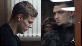 11 октября. Москва. Александр Кокорин (на левом снимке) и Павел Мамаев во время заседания суда, рассматривавшего их дело.