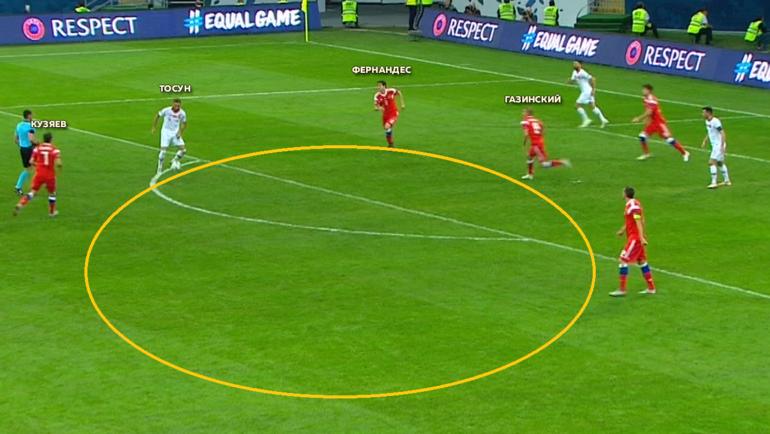 Игровой эпизод матча Лиги наций между сборными России и Турции (2:0). Фото «СЭ»