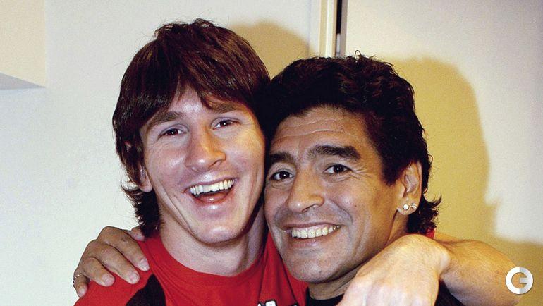 Лионель Месси и Диего Марадона.