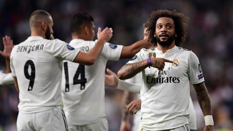 "23 октября. Мадрид. ""Реал"" - ""Виктория"" - 2:1. Марселу празднует забитый мяч. Фото AFP"