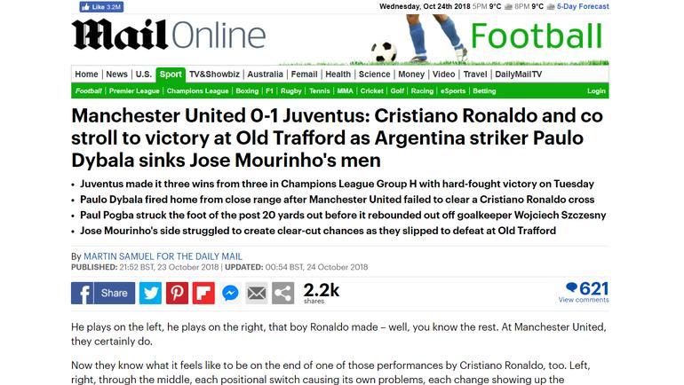 """""""Криштиану вернулся домой. И чувствовал себя как дома"""". Мировые СМИ воспевают игру Роналду на """"Олд Траффорд"""""""