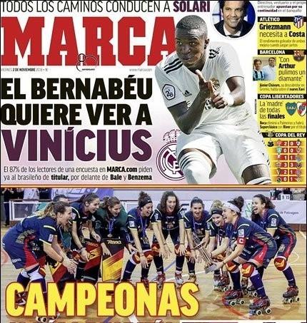 """Обложка испанской газеты Marca с игроком """"Реала"""" Винисиусом Жуниором."""