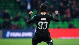 "8 ноября. Краснодар. ""Краснодар"" - ""Стандард"" - 2:1. Магомед-Шапи Сулейманов празднует забитый мяч."