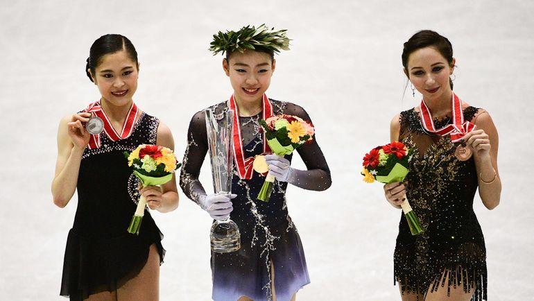 10 ноября. Хиросима. Сатоко Мияхара, Рика Кихира и Елизавета Туктамышева (слева направо). Фото AFP