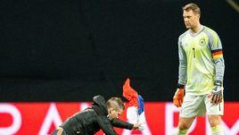 Болельщик с флагом России упал к ногам вратаря Германии. Что это было?