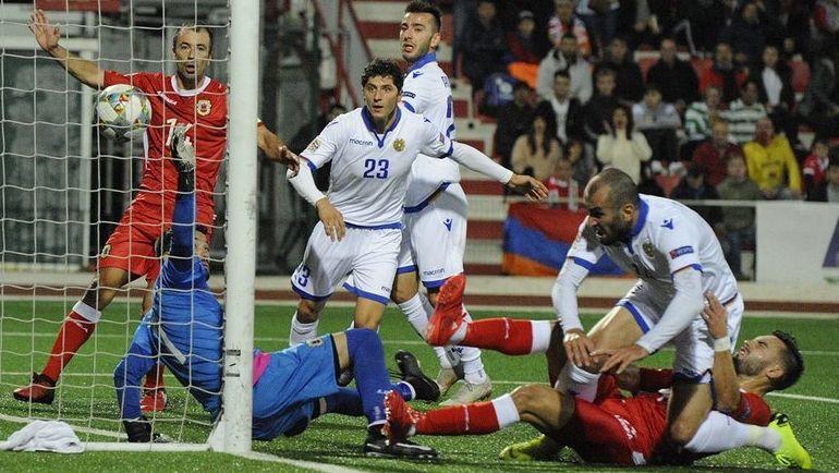"16 ноября. Гибралтар. Стадион ""Виктория"". Гибралтар - Армения - 2:6. Фото twitter.com/OfficialArmFF"