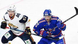 """18 ноября. Санкт-Петербург. СКА - """"Металлург"""" Мг - 2:1. В игре Павел Дацюк (справа)."""
