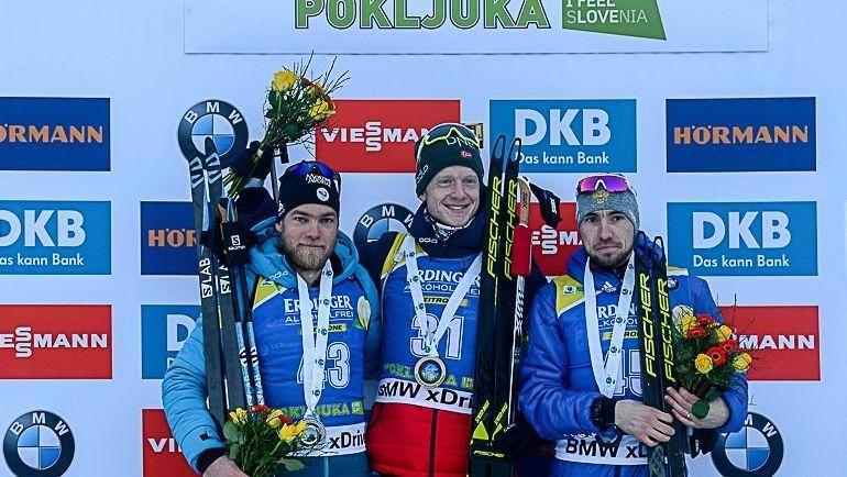 7 декабря. Поклюка. Антонен Гигонна, Йоханнес Бе и Александр Логинов (слева направо). Фото twitter.com/russianbiathlon