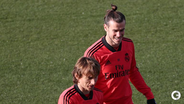 """11 декабря. Мадрид. Тренировка """"Реала"""". Гарет Бэйл и Лука Модрич."""