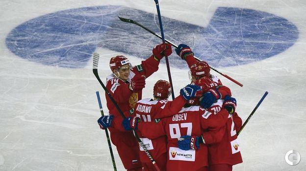 16 декабря. Санкт-Петербург. Россия - Финляндия - 5:0. Радость наших хоккеистов. Фото AFP