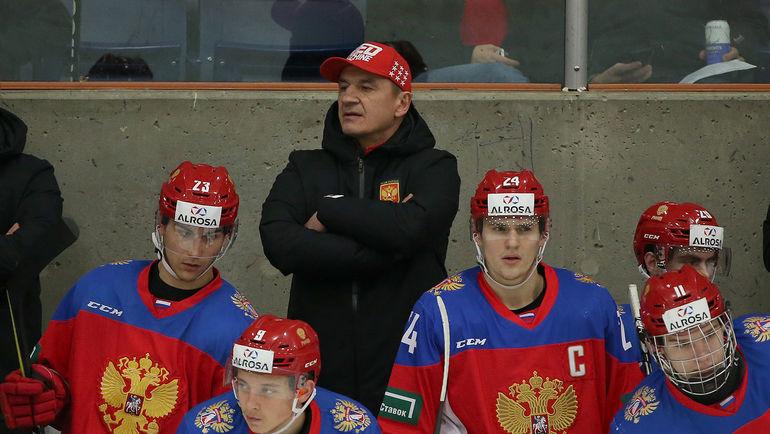 Главный тренер молодежной сборной России Валерий Брагин. Фото ФХР