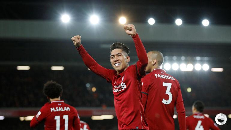 """29 декабря. Ливерпуль. """"Ливерпуль"""" - """"Арсенал"""" - 5:1. Роберту Фирмину празднует победу."""