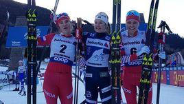 5 января. Валь-ди-Фиемме. Наталья Непряева (слева) и Анастасия Седова (справа) с Ингвильд Остберг.