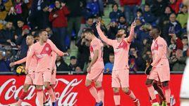 """6 января. Хетафе. """"Хетафе"""" - """"Барселона"""" - 1:2. Лионель Месси (№10) празднует 399-й гол в чемпионате Испании."""