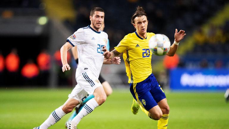 20 ноября 2018 года. Стокгольм. Швеция - Россия - 2:0. Алексей Ионов и Кристоффер Ульссон. Фото Reuters