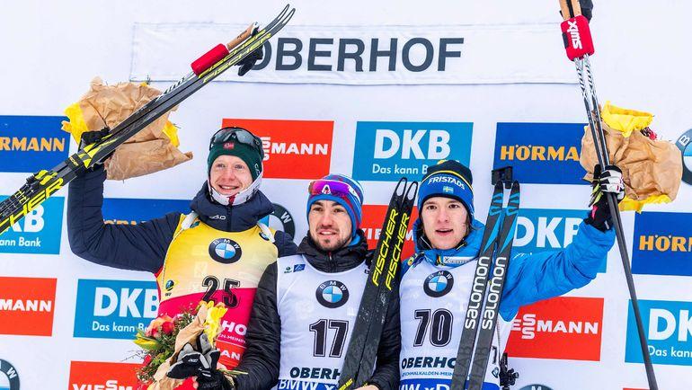 11 января. Оберхоф. (слева направо) Йоханнес Бе, Александр Логинов и Себастьян Самуэльссон. Фото AFP