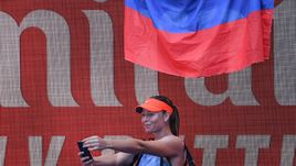 Мария Шарапова: селфи с флагом России